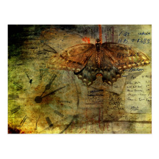 """""""Out of Time"""" Grungy Shopping Lists Collage Postcard"""
