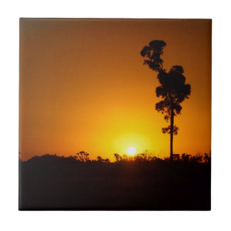 Outback sunset square tile