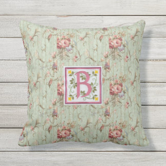Outdoor B Monogram Throw Pillow