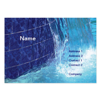 outdoor blue tiled pool fountain business card template