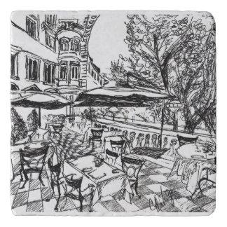 Outdoor Cafe Ink Drawing Trivet