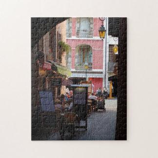 Outdoor Cafés, Restaurants in Quaint French Town Puzzles
