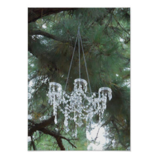 Outdoor Country Wedding Chandelier in The Pines Poster