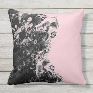 Outdoor cushion flower lace black pink