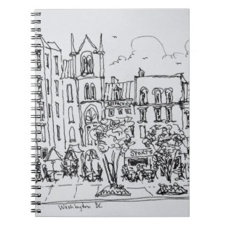 Outdoor Dining along Indiana St. | Washington DC Spiral Notebook