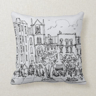Outdoor Dining along Indiana St. | Washington DC Throw Pillow