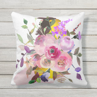 Outdoor floral throw pillow, grey reverse side throw pillow