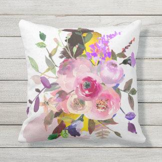 Outdoor floral throw pillow, grey reverse side throw pillow