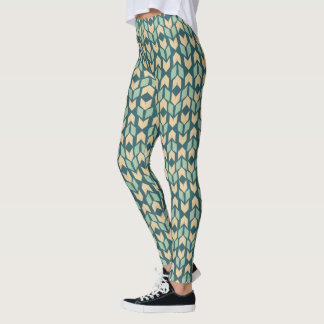 Outdoor Geo Step | Geometric Teal Arrow Pattern Leggings