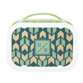 Outdoor Geo Step | Geometric Teal Arrow Pattern Lunch Box