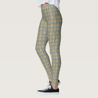 Outdoor Geo Step | Gold & Blue Pattern Leggings