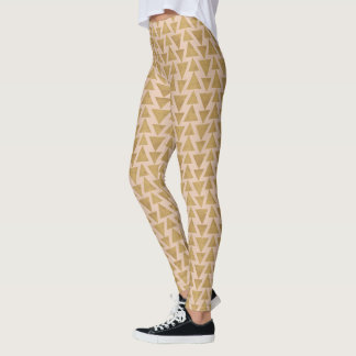 Outdoor Geo Step | Gold & Coral Geometric Pattern Leggings