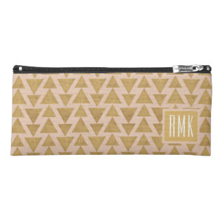 Outdoor Geo Step | Gold & Coral Geometric Pattern Pencil Case