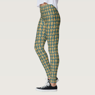 Outdoor Geo Step | Gold & Dark Teal Pattern Leggings