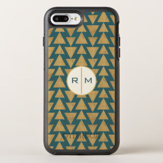 Outdoor Geo Step | Gold & Dark Teal Pattern OtterBox Symmetry iPhone 8 Plus/7 Plus Case