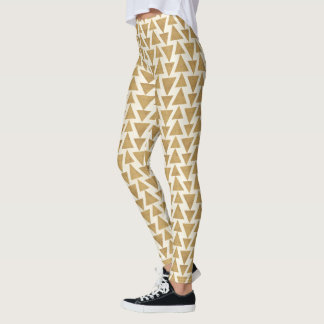 Outdoor Geo Step | Gold Geometric Pattern Leggings