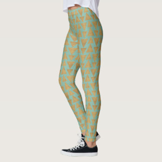 Outdoor Geo Step | Gold & Teal Pattern Leggings