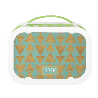 Outdoor Geo Step | Gold & Teal Pattern Lunch Box