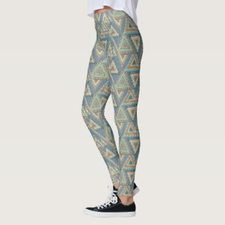 Outdoor Geo X | Blue Tribal Indian Pattern Leggings