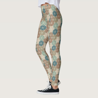 Outdoor Geo XI | Blue & Green Tribal Pattern Leggings