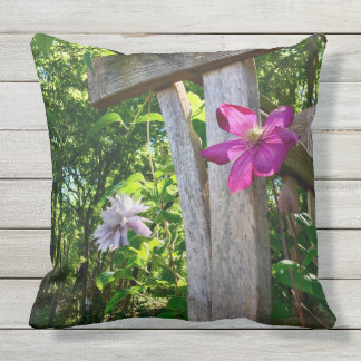 "Outdoor Mystic Clematis Throw Pillow 20"" x 20"""