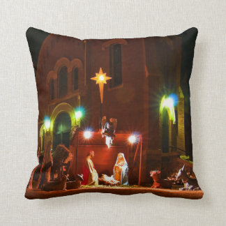 Outdoor nativity scene throw pillow