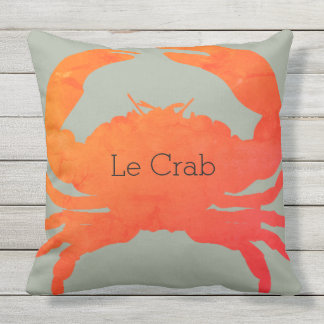 OUTDOOR-Nautical_Crab_Le Crab(c)Paprika & Seaweed Throw Pillow