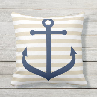 Outdoor Nautical Themed Pillows - with Stripes