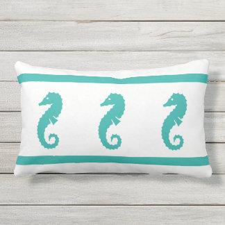 Outdoor peacock blue and white  SEAHORSE Lumbar Pillow