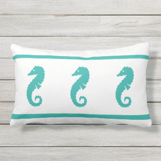 Outdoor peacock blue and white  SEAHORSE Lumbar Pillow