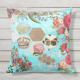 Outdoor Pillow, Boho, Floral, Collage Art Throw Pillow