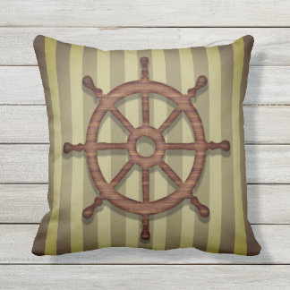 Outdoor pillow nautical theme wooden helm wheel