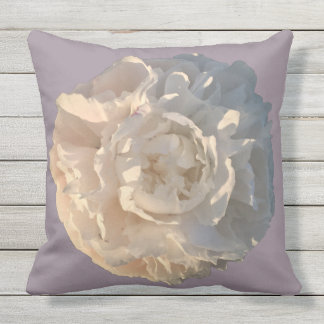 Outdoor Pillow Peony on grey/pink background