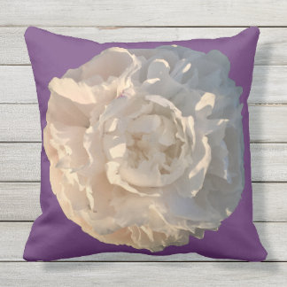 Outdoor Pillow Peony on purple background