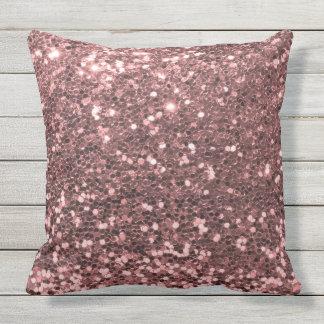 Outdoor Safe Rose Gold Glitter Throw Pillow