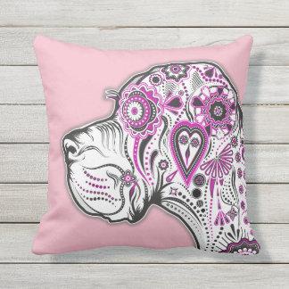 Outdoor Sugar Skull Great Dane Pillow