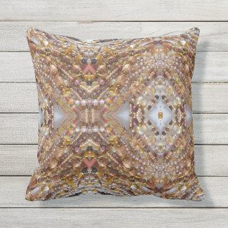 Outdoor Throw Pillow- Earth Tones Bead Print Throw Pillow