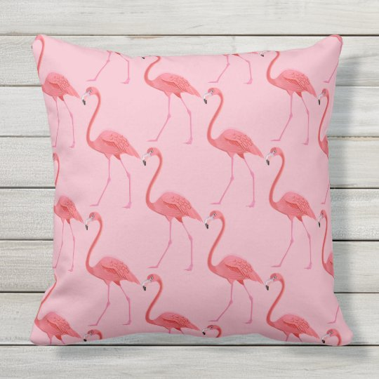 Outdoor Throw Pillow-Flamingos Outdoor Pillow