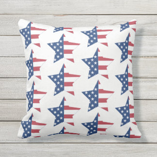 Outdoor Throw Pillow-Patriotic Stars Outdoor Pillow