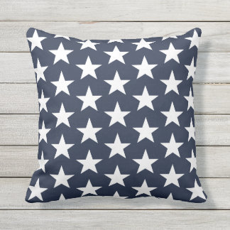 Outdoor Throw Pillow-Patriotic Stars Throw Pillow
