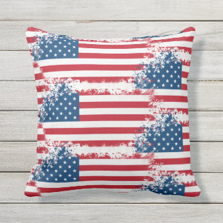 Outdoor Throw Pillow-Patriotic USA Flag Outdoor Pillow