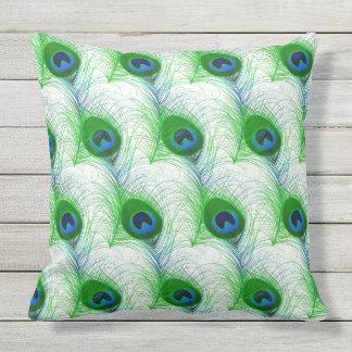 Outdoor Throw Pillow-Peacock Feathers Outdoor Pillow