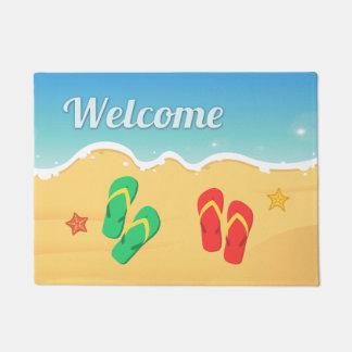 Outdoor Welcome in Summer Beach Sandal Starfish Doormat