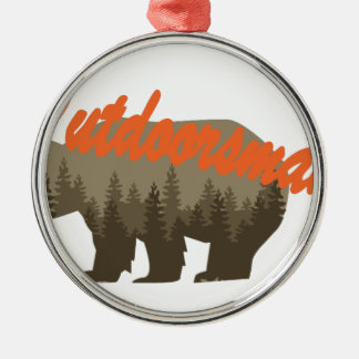 Outdoorsman Silver-Colored Round Ornament