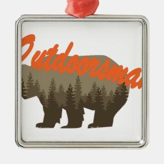 Outdoorsman Silver-Colored Square Ornament