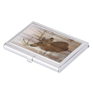 Outdoorsman Western Primitive barn wood deer Business Card Holder