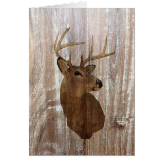 Outdoorsman Western Primitive barn wood deer Card