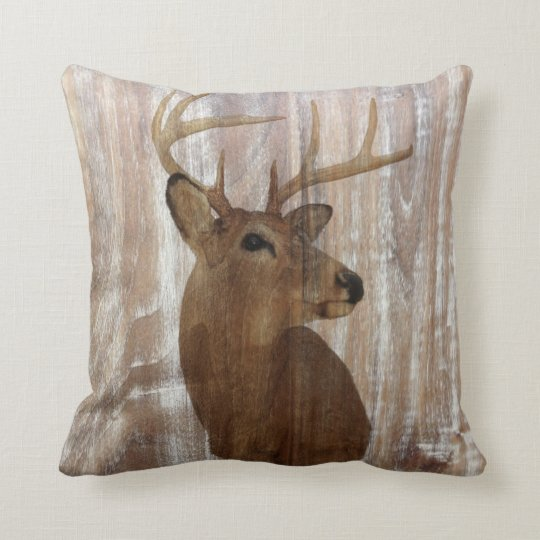 Outdoorsman Western Primitive barn wood deer Throw Pillow