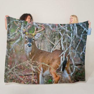 Outdoorsman Whitetail Buck Wildlife Acrylic Art Fleece Blanket