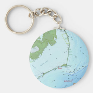 Outer Banks Map Basic Round Button Keychain